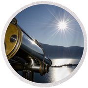 Watching With A Telescope Islands Round Beach Towel