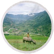 Water Buffalo Boy Round Beach Towel