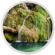 Water Cascade Round Beach Towel