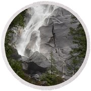 Water Cascading Down The Rock And Round Beach Towel
