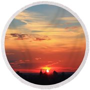 Water Color Sky Round Beach Towel