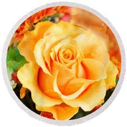 Water Color Yellow Rose With Orange Flower Accents Round Beach Towel