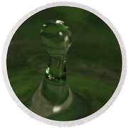 Water Drop Abstract Green 19 Round Beach Towel