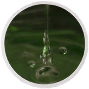 Water Drop Abstract Green 24 Round Beach Towel