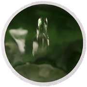 Water Drop Abstract Green 27 Round Beach Towel