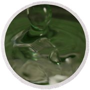 Water Drop Abstract Green 28 Round Beach Towel