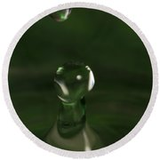 Water Drop Abstract Green 6 Round Beach Towel