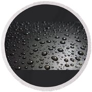 Water Drops On Black Metalica. Business Card. Invitation. Sympathy Note. Round Beach Towel