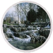 Water Flowing In A Garden, St. Fiachras Round Beach Towel