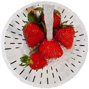 Water For Strawberries Round Beach Towel
