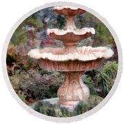 Water Fountain In  The Forest Round Beach Towel
