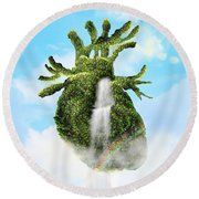 Water From The Heart Round Beach Towel