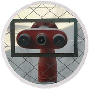 Water Hydrants Built Into A Wire Mesh Fence Round Beach Towel