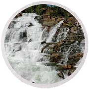 Water In Motion Glen Alpine Falls Round Beach Towel