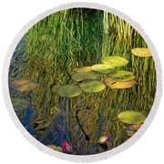Water Lilies Reflection Round Beach Towel