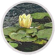 Water Lily Cometh Round Beach Towel