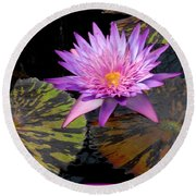 Water Lily Magic Round Beach Towel