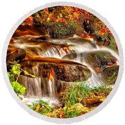 Water Over The Rocks Round Beach Towel