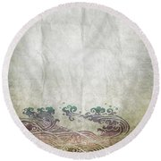 Water Pattern On Old Paper Round Beach Towel by Setsiri Silapasuwanchai