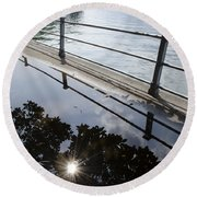 Water Puddle Round Beach Towel