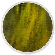 Water Reflection Abstract Autumn 1 A Round Beach Towel