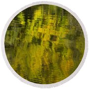 Water Reflection Abstract Autumn 1 E Round Beach Towel