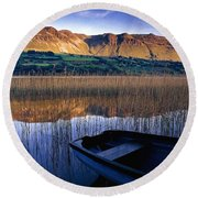 Water Reflections With Boat Round Beach Towel