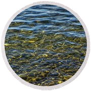 Water Ripples And Reflections On Lake Huron Round Beach Towel
