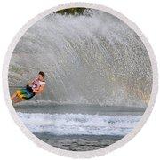 Water Skiing 16 Round Beach Towel