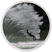Water Skiing 20 Round Beach Towel