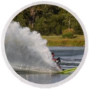 Water Skiing 6 Round Beach Towel