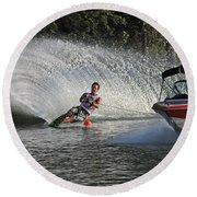 Water Skiing 8 Round Beach Towel