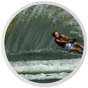 Water Skiing Magic Of Water 1 Round Beach Towel