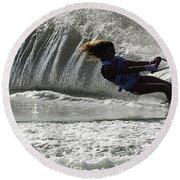 Water Skiing Magic Of Water 12 Round Beach Towel