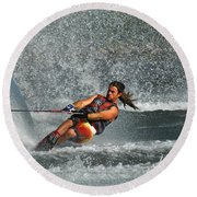 Water Skiing Magic Of Water 15 Round Beach Towel