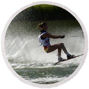 Water Skiing Magic Of Water 16 Round Beach Towel
