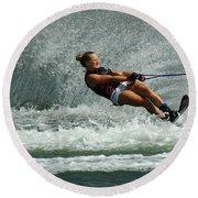 Water Skiing Magic Of Water 2 Round Beach Towel