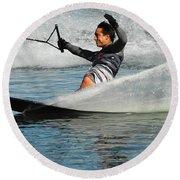 Water Skiing Magic Of Water 22 Round Beach Towel