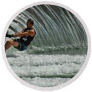 Water Skiing Magic Of Water 3 Round Beach Towel