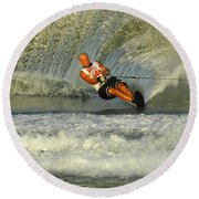 Water Skiing Magic Of Water 4 Round Beach Towel by Bob Christopher