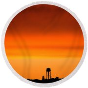 Water Tower And Sunset Round Beach Towel