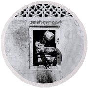 Water Vendor In Jaipur Round Beach Towel