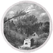 Water Well, C1880 Round Beach Towel