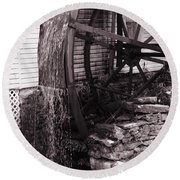 Water Wheel Old Mill Cherokee North Carolina  Round Beach Towel