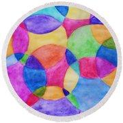 Watercolor Circles Abstract Round Beach Towel