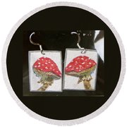 Watercolor Earrings Amanita Round Beach Towel