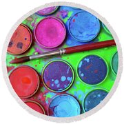Watercolor Palette Round Beach Towel by Carlos Caetano