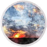 Watercolor Sunrise Round Beach Towel
