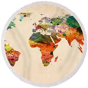 Watercolor World Map  Round Beach Towel