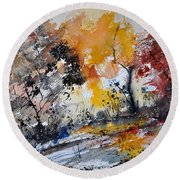 Watercolor211020 Round Beach Towel